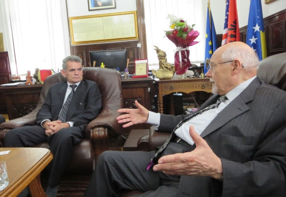 Prof. Dr. Marjan Dema, (L) Rector of the University of Prishtina and Rabbi Bemporad, explore proposals for finding additional teaching staff for the institution.