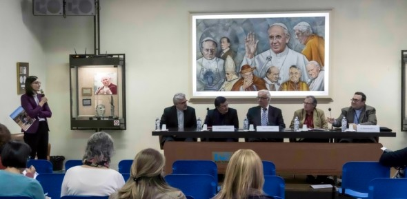 Responding to questions regarding the plight of refugees are, (left to right): Father F. Baggio, Undersecretary, Office for Migrants and Refugees, Vatican; Father P. Reubens, President, International Federation of Catholic Universities, Brazil; Anthony J. Cernera, President, Being the Blessing Foundation, USA; Francois Mabille, Secretary General, International Federation of Catholic Universities,  France; Father R. Micallef, Gregorian University, Italy.