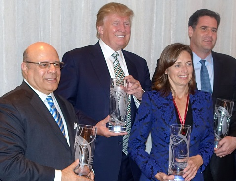 CIU Board member S.A. Ibrahim (first left) stands shoulder to shoulder with recipients of the 44th Annual Joseph Wharton Award at the Washington D.C. dinner honoring them in October. From left: S. A. Ibrahim, CEO and Director, Radian Group; Donald Trump, Chairman and President, The Trump Organization; Jennifer Simpson, Managing Director of the Gladstone Companies, and His Excellency Ron Dermer, Israel's Ambassador to the U.S.