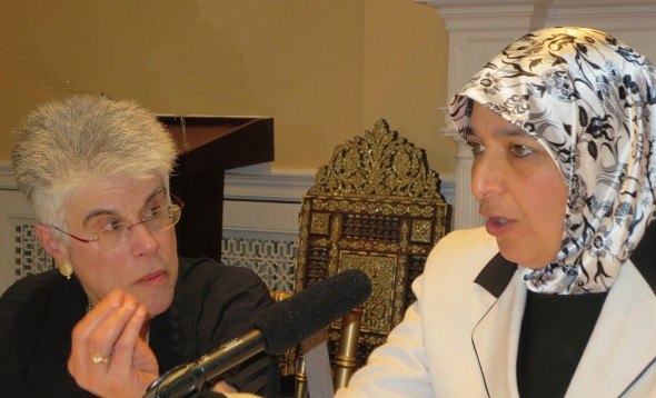 Rabbi Prof. Judith Hauptmann (L) and Dr. Zainab Alwani at the Karamah Muslim-Jewish Roundtable.