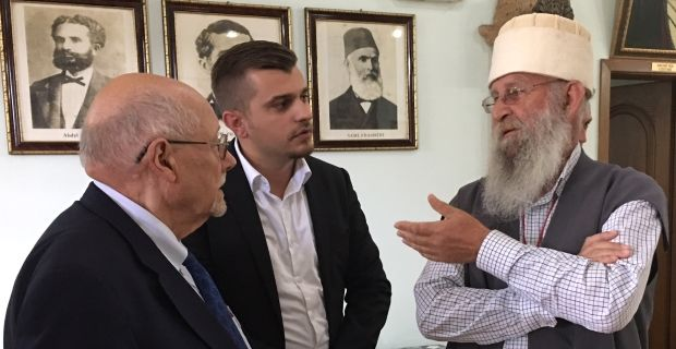 Kosovo Conference Takes Shape: (L-R) In Jhacoba, Rabbi Bemporad and Getoar Besimi discuss Kosovo's history with Baba Mumin Lama, head of the Kosovo Bektashi.