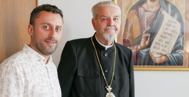 Dialogue Fellowship Program Launched in Ukraine -  Photo of Dr. Taras Dzyubanskyy and Bishop Basil H. Losten